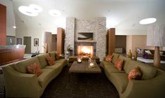Resort guests may enjoy the warmth and glow of the lobby's huge stone fireplace.