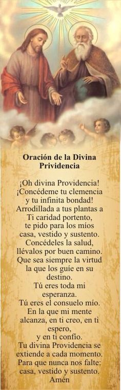 Posted June 2017 Oracion a la Divina Providencia Posted June 2017 Catholic Prayers, Bible Quotes, Bible Verses, Spanish Prayers, Catholic Religion, Spiritus, God Prayer, Prayer Board, Religious Quotes