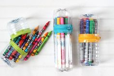 Create a colorful, no-sew zipper case from some plastic bottles that you were going to throw away, a zipper and a hot glue gun.
