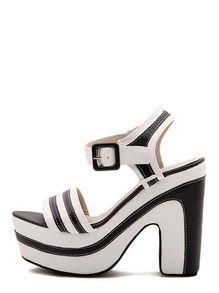 Sandalias hebilla plataforma -negro blanco