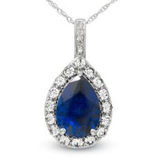 Pear-Shaped Lab-Created Blue and White Sapphire and Diamond Accent Frame Pendant in 10K White Gold