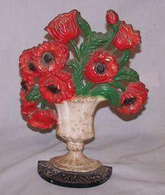 Antique Poppy Flowers in Urn Cast Iron Door Stop