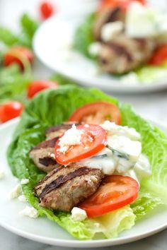 Feta Gyro Burgers with Tzatziki Sauce - Low Carb