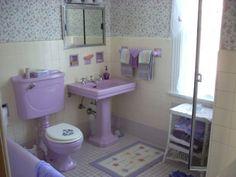 Gorgeous vintage purple bathroom