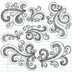 Sketchy Doodle Swirls Vector Design Elements - Stock Illustration: 9663010
