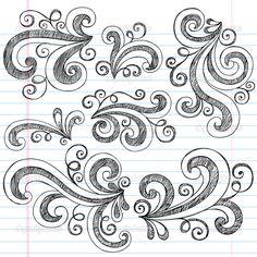 Baixar - Elementos de design doodle esboçado redemoinhos vector — Ilustração de Stock #9663010