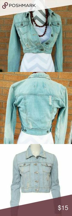 Distressed Jean Jacket Awesome, light colored denim, jean jacket w/ full sleeves & a cropped hemline. Jacket has a naturally destroyed, rip/torn look & is in perfect, pre-owned cond.! Made by: RUE 21 Size: Small Material: 100% Cotton Rue 21 Jackets & Coats Jean Jackets