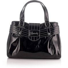 HARRODS Portobello Grab Bag ($25) ❤ liked on Polyvore featuring bags, handbags, purses, borse, black patent leather bag, black hand bags, patent handbags, flap purse and black purse