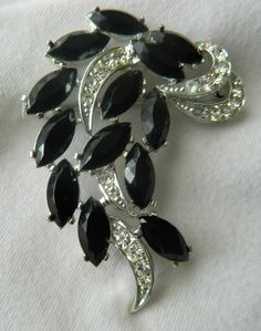 Vintage Lovely Jet Black and Rhinestone Brooch Signed Sarah Coventry