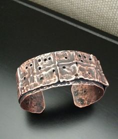 Rustic and Rough fold formed copper cuff
