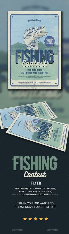 Fishing Contest Flyer  — PSD Template #inspiration #sport fishing #lake • Download ➝ https://graphicriver.net/item/fishing-contest-flyer/18606644?ref=pxcr