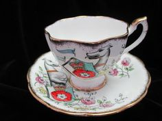 """Queen Anne """"The White Greyhound of Richmond""""One of a Series of Ten Cup and Saucer"""