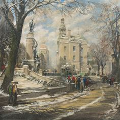Anthony Batten, Snow Flurries in Old Quebec City, 40x40 acrylic on canvas, Quebec City, Quebec (from Arabella Canadian Landscape Competition)