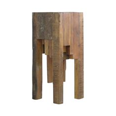 It almost looks like it grew from the Earth as-is, but on second look, you'll see some modernistic genius at play. Beams of repurposed Elm are joined to create this clean-yet-rustic cascading end table...  Find the Modern Forestry End Table, as seen in the Modern Ghost Town Revival Collection at http://dotandbo.com/collections/modern-ghost-town-revival?utm_source=pinterest&utm_medium=organic&db_sku=112670