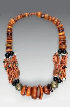 Morocco - Draa Valley, South Atlas Mountains | Necklace; amber coral, amazonite, shell, glass and brass beads | Est 5'800 - 7'500€ ~ (Dec '14)