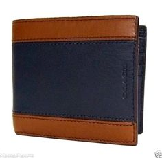 COACH Wallet Mens Leather Bifold ID Holder Navy Brown 74792 NWT Heritage  #Coach #Bifold Calf Leather, Leather Men, Navy And Brown, Coach Wallet, Id Holder, Gifts For Him, Calves, Fashion Accessories, Bags