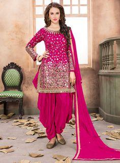 Magenta Taffeta Silk Patiala Suit 124353