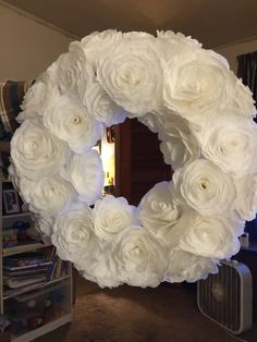 White coffee filter flower wreath