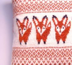 Fox Pillow Cushion, Knitted Pillow Cover, Felted Knit Little Red Fox Pillow Cover with Button Detail Cream and Rust Red Pillow Cushion