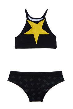 "Stars Black Two Piece Swimsuit Kids"""