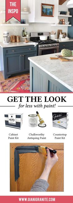 Get the look for less with Nuvo Cabinet Paint and Giani Countertop Paint.  The Easiest DIY kitchen Makeover.