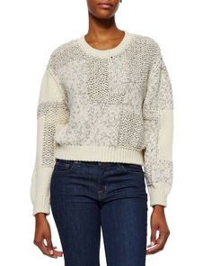 IRO Yoav Mixed-Knit Cropped Sweater