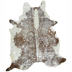Hand-picked Brown Cowhide Leather Rug (5' x 7')