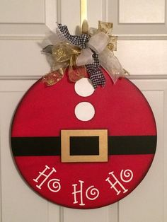 Items similar to Santa Suit Door Hanger.Hand Painted Wood Design on Etsy : Santa Suit Door Hanger.Hand Painted Wood Design by SuzCraftz Christmas Wood Crafts, Christmas Signs, Christmas Projects, Holiday Crafts, Christmas Wreaths, Christmas Bulbs, Holiday Decor, Christmas Door Hangers, Diy Christmas