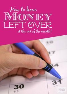 How to Have Money Left Over at the End of the Month! Tips and Tricks for Saving Money and Budgeting! saving money tips, saving money ideas, saving, tips Ways To Save Money, Money Tips, Money Saving Tips, Money Budget, Budget App, Cash Money, Budget Plan, Financial Peace, Financial Tips