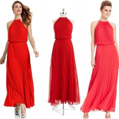Apple red xscape dress Xscape pleated chiffon Gown & a gold jeweled neckline. New with no tags. Xscape Dresses