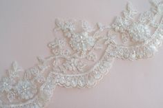 Ivory Lace Trim Silver Corded Bridal Lace Wedding by JLWeddings, $9.95