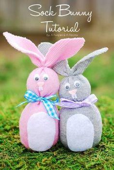 Bunnies! DIY Craft - simple sock bunnies! No sew, filled with rice!
