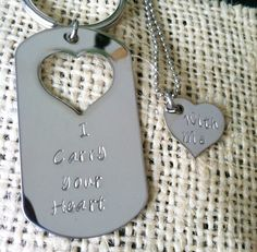 Stainless steel keychain and necklace his and hers I carry your heart with me  , mirror finish heart cut out  dog tag  military personalize. $25.00, via Etsy.