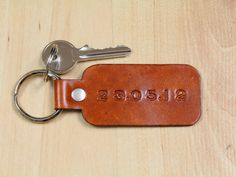 Special Date Keychain  Leather Date Key Fob by TinasLeatherCrafts. Repin To Remember.