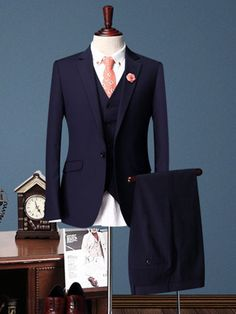 Blue Single Breasted One-Button Three Piece Suit