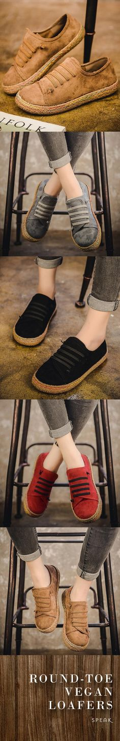 Round-Toe Slip On Vegan Loafers – the perfect sneaker ♥ - Casual Shoes Vetements Shoes, Vetements Clothing, Cute Shoes, Me Too Shoes, Comfy Shoes, Look 2018, Mocassins, Vegan Shoes, Mode Outfits