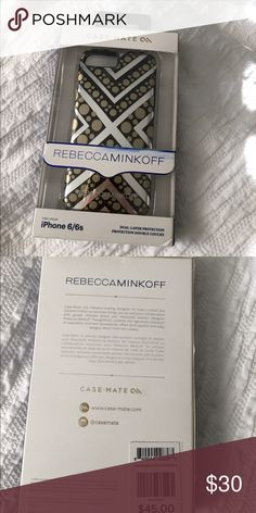 Rebecca Minkoff iPhone case Brand new in box!!! Never opened!! Some scratches and defects on the box, which is how I bought it. Gorgeous gold polka dots/chevron print!!! Fits a 6/6s. 💛💛💛ALL ITEMS come from a smoke free, meow friendly home💛💛💛 Rebecca Minkoff Accessories Phone Cases