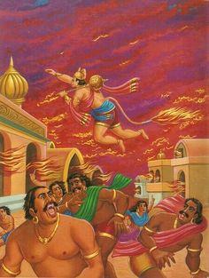 RAMAYANA - PART 7 Hanuman was flying fast across the sea when suddenly a mountain peak emerged from the sea and stood as a barrier across his way. Hanuman got Hanuman Ji Wallpapers, Lord Rama Images, Hanuman Chalisa, Hanuman Images, Indian Art Paintings, Durga Goddess, Krishna Art, Indian Gods, Ravana Lanka