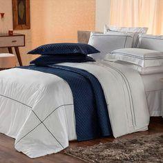 0a9b2ab835 Conjunto de Capa Protetora para Edredom e Fronha Solteiro Duvet Branco e  Azul