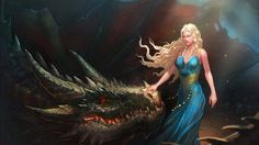 women, Blonde, Long Hair, Closed Eyes, Daenerys Targaryen, Digital Art, Fantasy Art, Dragon, Nature, Blue Dress, Fan Art, Game Of Thrones HD Wallpaper Desktop Background