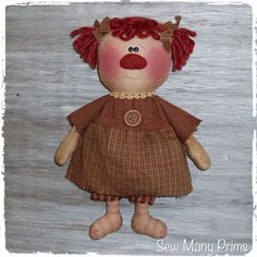 Primitive Raggedy Ann Doll ~ Sew Many Prims pattern model 3 - Pigtail Annie #SewManyPrims