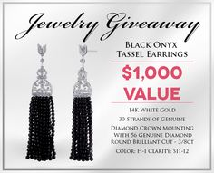 Enter to a Genuine Black Onyx Bead & Diamond Tassel Earrings! Black Earrings, Tassel Earrings, Black Onyx, Black Gold, Diamond Crown, Shopping Spree, Cool Items, Jewlery, My Love