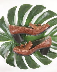 1970s penny loafers, vintage tassel platforms, 70s stacked heels, retro slip on pumps, textured brown leather heels, mod loaders by SpacedOutMama on Etsy