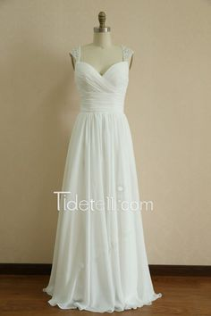 Exquisite A-line Sweetheart Long Chiffon Prom Dress with Beaded Straps