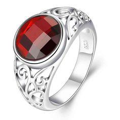 Livraison gratuite 925 Anneaux D'argent pour les Femmes De Bijoux De Mariage Cristal Rouge Zircon Cubique Incrusté Bagues de Fiançailles Bijoux Femmes