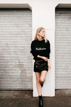 www.jerrijones.com.au photo: Tara Pearce (Erin&Tara) model: Sophie Dhuij H&MU: Janice Wu Styling: Jerri Jones Leather Skirt, Fashion Looks, Shirt Dress, Skirts, Model, Shopping, Dresses, Vestidos, Skirt