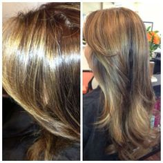 butterscotch highlights and rich chocolate lowlights