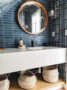 Cement Tiles Bathroom, Modern Bathroom Tile, Bathroom Interior Design, Small Bathroom, Blue Tile Bathrooms, Bathroom Wallpaper Modern, Bathroom Colors Blue, Colorful Bathroom, Bathroom Stuff