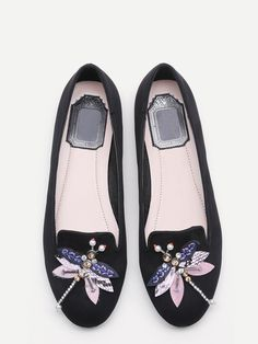 31$  Watch here - http://di9s3.justgood.pw/go.php?t=17014 - Black Rhinestone And Beaded Dragonfly Embellished Flats