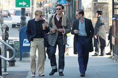 Dane DeHaan (Lucien Carr), Jack Huston (Jack Kerouac) and Ben Foster (William Burroughs) on the set of their new movie 'Kill Your Darlings' in Brooklyn, New York City.